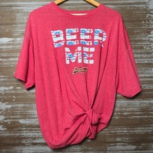 Budweiser Beer Me Red Graphic Tee Size 2XL